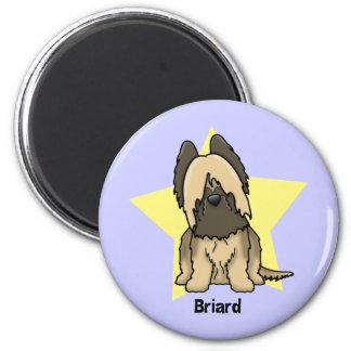 Kawaii Star Briard 6 Cm Round Magnet