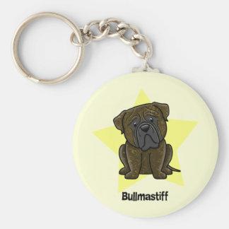 Kawaii Star Brindle Bullmastiff Basic Round Button Key Ring