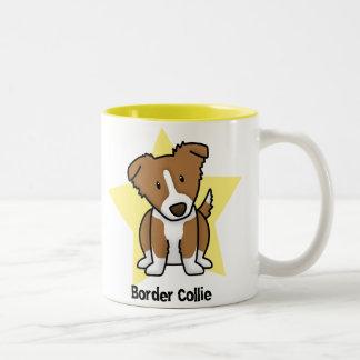 Kawaii Star Brown Border Collie Coffee Mugs