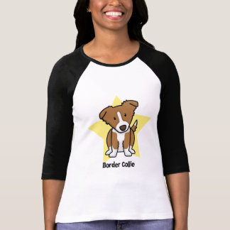 Kawaii Star Brown Border Collie T-Shirt