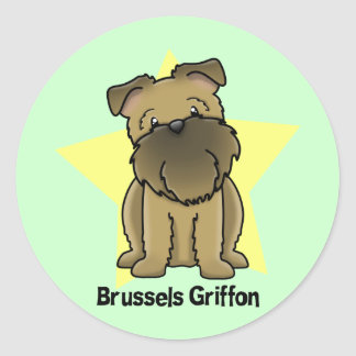 Kawaii Star Brussels Griffon Classic Round Sticker