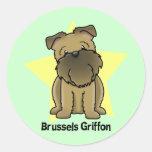 Kawaii Star Brussels Griffon Round Sticker