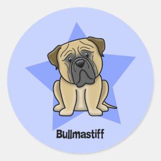 Kawaii Star Bullmastiff Classic Round Sticker