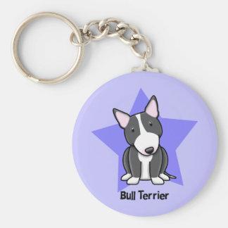 Kawaii Star BW Bull Terrier Basic Round Button Key Ring