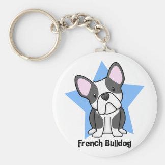 Kawaii Star BW French Bulldog Basic Round Button Key Ring