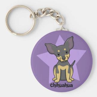 Kawaii Star Chihuahua - BT Basic Round Button Key Ring