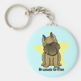 Kawaii Star Cropped Brussels Griffon Basic Round Button Key Ring