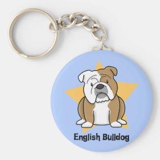 Kawaii Star English Bulldog Basic Round Button Key Ring