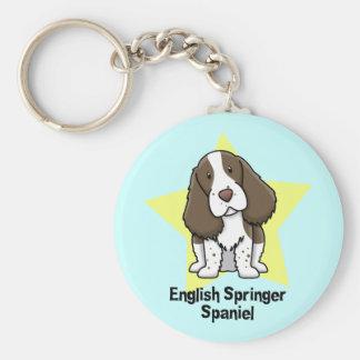 Kawaii Star English Springer Spaniel Basic Round Button Key Ring