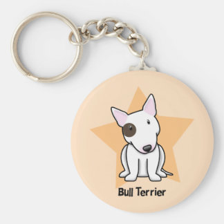 Kawaii Star Eye Spot Bull Terrier Basic Round Button Key Ring