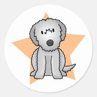 Kawaii Star Irish Wolfhound Round Stickers