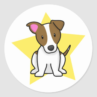 Kawaii Star Jack Russell Terrier Round Sticker