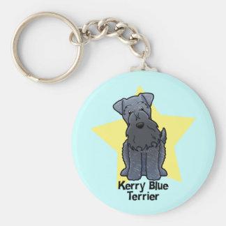Kawaii Star Kerry Blue Terrier Basic Round Button Key Ring