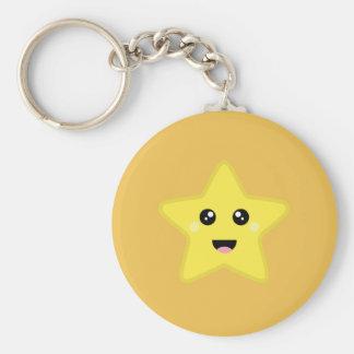 Kawaii Star Basic Round Button Key Ring