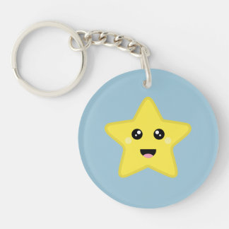 Kawaii Star Single-Sided Round Acrylic Key Ring