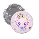 Kawaii star kitty with cute cakes 3 cm round badge