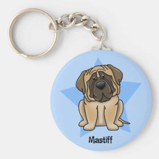 Kawaii Star Mastiff Basic Round Button Key Ring