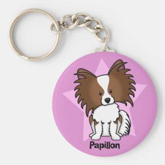 Kawaii Star Papillon Basic Round Button Key Ring