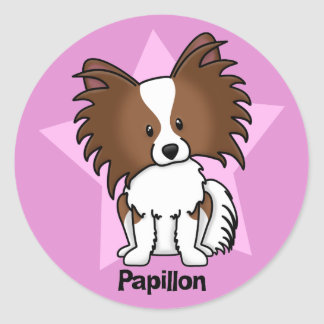 Kawaii Star Papillon Classic Round Sticker