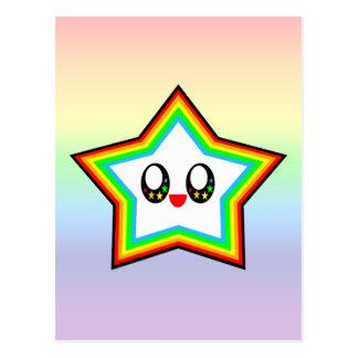 KAWAII STAR RAINBOW HAPPY FACE LUCKY POSTCARD