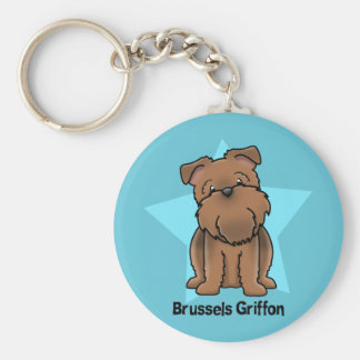 Kawaii Star Red Brussels Griffon Basic Round Button Key Ring