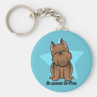 Kawaii Star Red Cropped Brussels Griffon Basic Round Button Key Ring