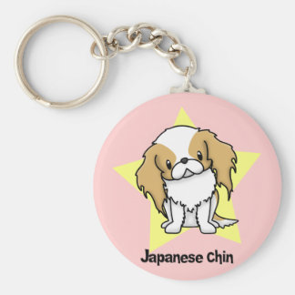 Kawaii Star Red Japanese Chin Basic Round Button Key Ring