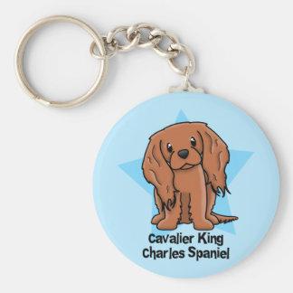 Kawaii Star Ruby Cavalier King Charles Spaniel Basic Round Button Key Ring