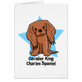 Kawaii Star Ruby Cavalier King Charles Spaniel Card