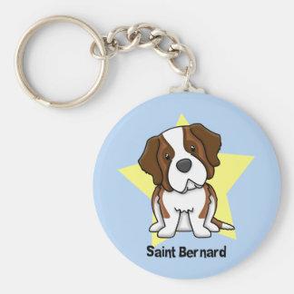 Kawaii Star Saint Bernard Basic Round Button Key Ring