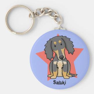Kawaii Star Saluki Basic Round Button Key Ring