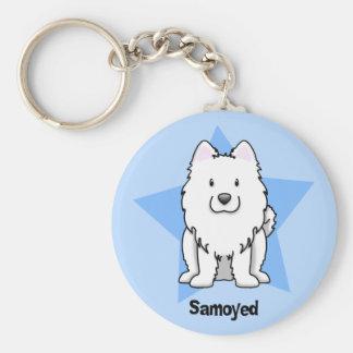 Kawaii Star Samoyed Basic Round Button Key Ring