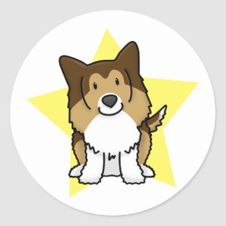 Kawaii Star Sheltie Classic Round Sticker