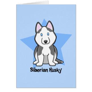 Kawaii Star Siberian Husky Greeting Card
