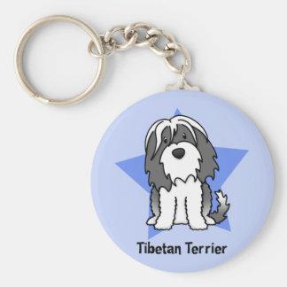 Kawaii Star Tibetan Terrier Basic Round Button Key Ring