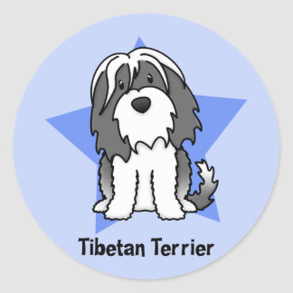 Kawaii Star Tibetan Terrier Classic Round Sticker