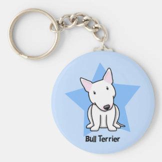 Kawaii Star White Bull Terrier Basic Round Button Key Ring
