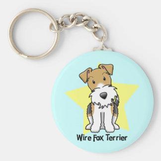 Kawaii Star Wire Fox Terrier Basic Round Button Key Ring