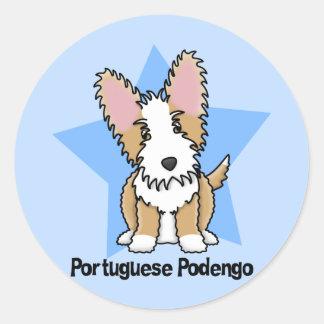 Kawaii Star Wire Portuguese Podengo Round Sticker