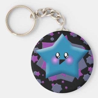 KAWAII STARS GALAXY BLAST BASIC ROUND BUTTON KEY RING