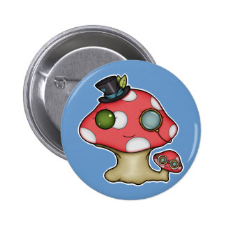 Kawaii Steampunk Mushroom Pinback Button