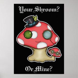 Kawaii Steampunk Mushroom Poster