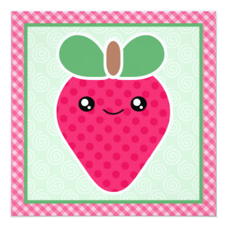 Kawaii Strawberry Birthday Party Invitations