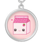 Kawaii strawberry milk carton pendants
