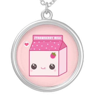 Kawaii strawberry milk carton round pendant necklace