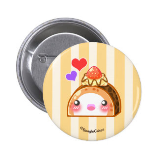 Kawaii Strawberry Roll Cake Pinback Button