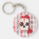 Kawaii Style Cyberpunk Emo Skull on Red Argyle Basic Round Button Key Ring