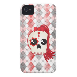 Kawaii Style Cyberpunk Emo Skull on Red Argyle iPhone 4 Case-Mate Case