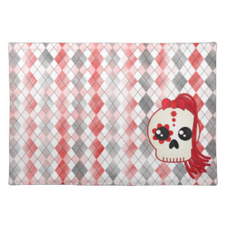 Kawaii Style Cyberpunk Emo Skull on Red Argyle Placemat