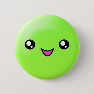 Kawaii Sugar Dots Lime Happy Face Button